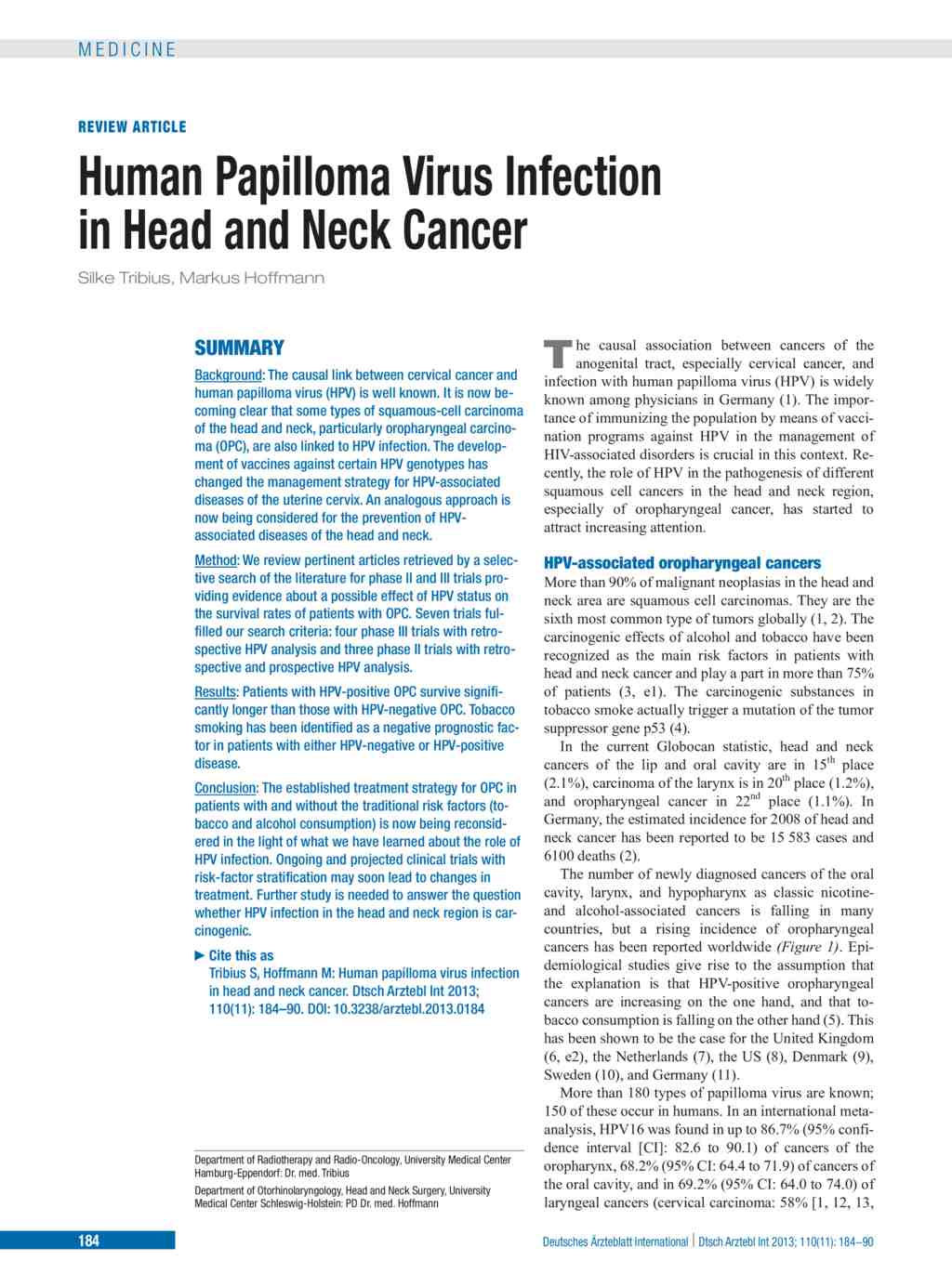 Human Papilloma Virus Infection in Head and Neck Cancer