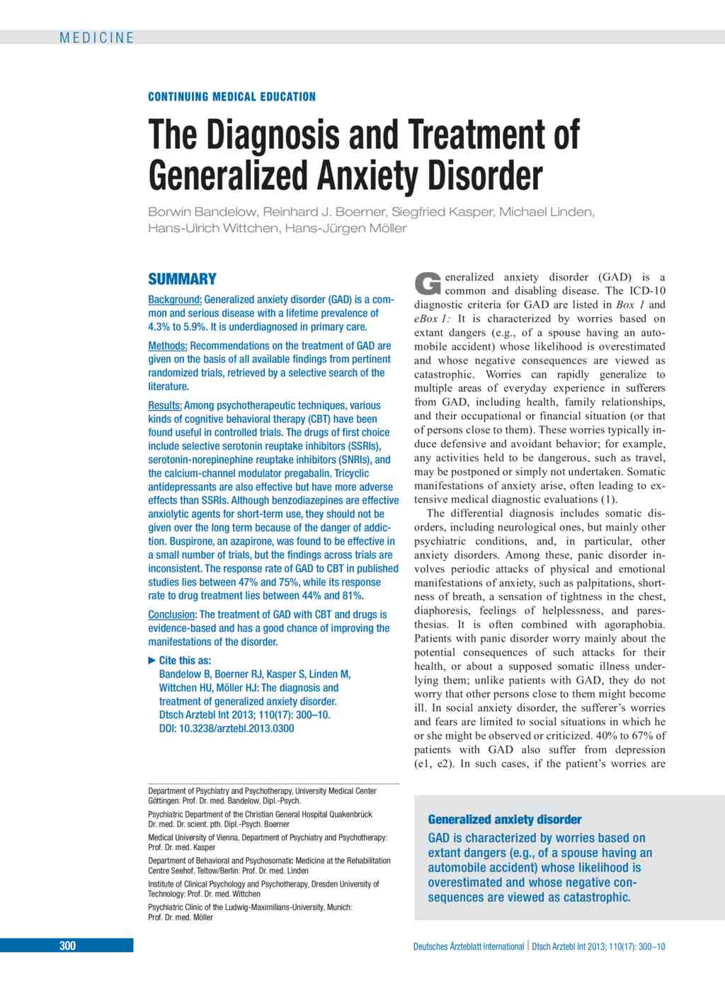 What medications treat generalized anxiety disorder