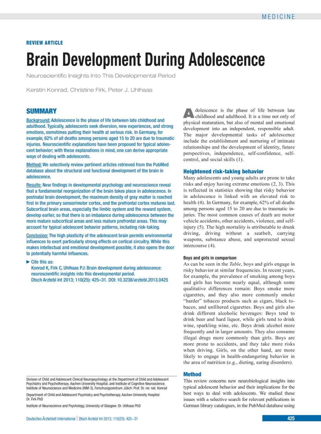 Brain Development During Adolescence (21 06 2013)