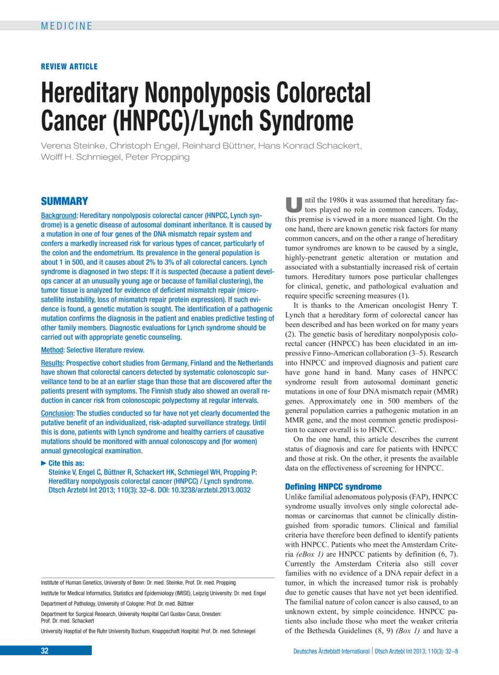 Hereditary Nonpolyposis Colorectal Cancer Hnpcc Lynch Syndrome 18 01 2013