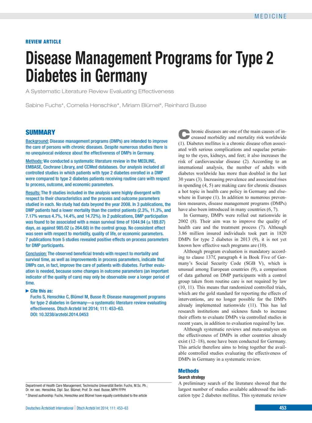 literature review on diabetes