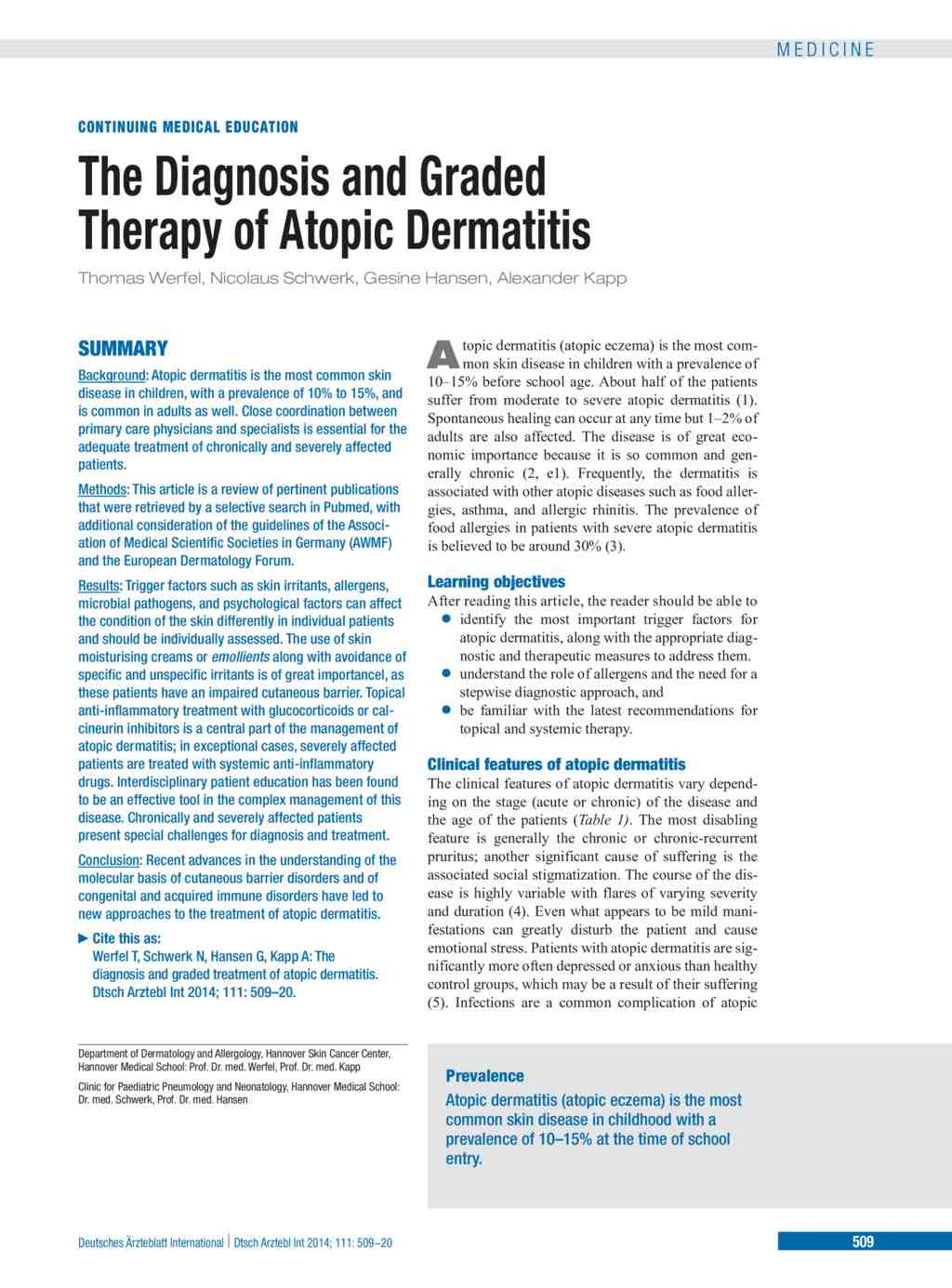 The Diagnosis and Graded Therapy of Atopic Dermatitis (21 07