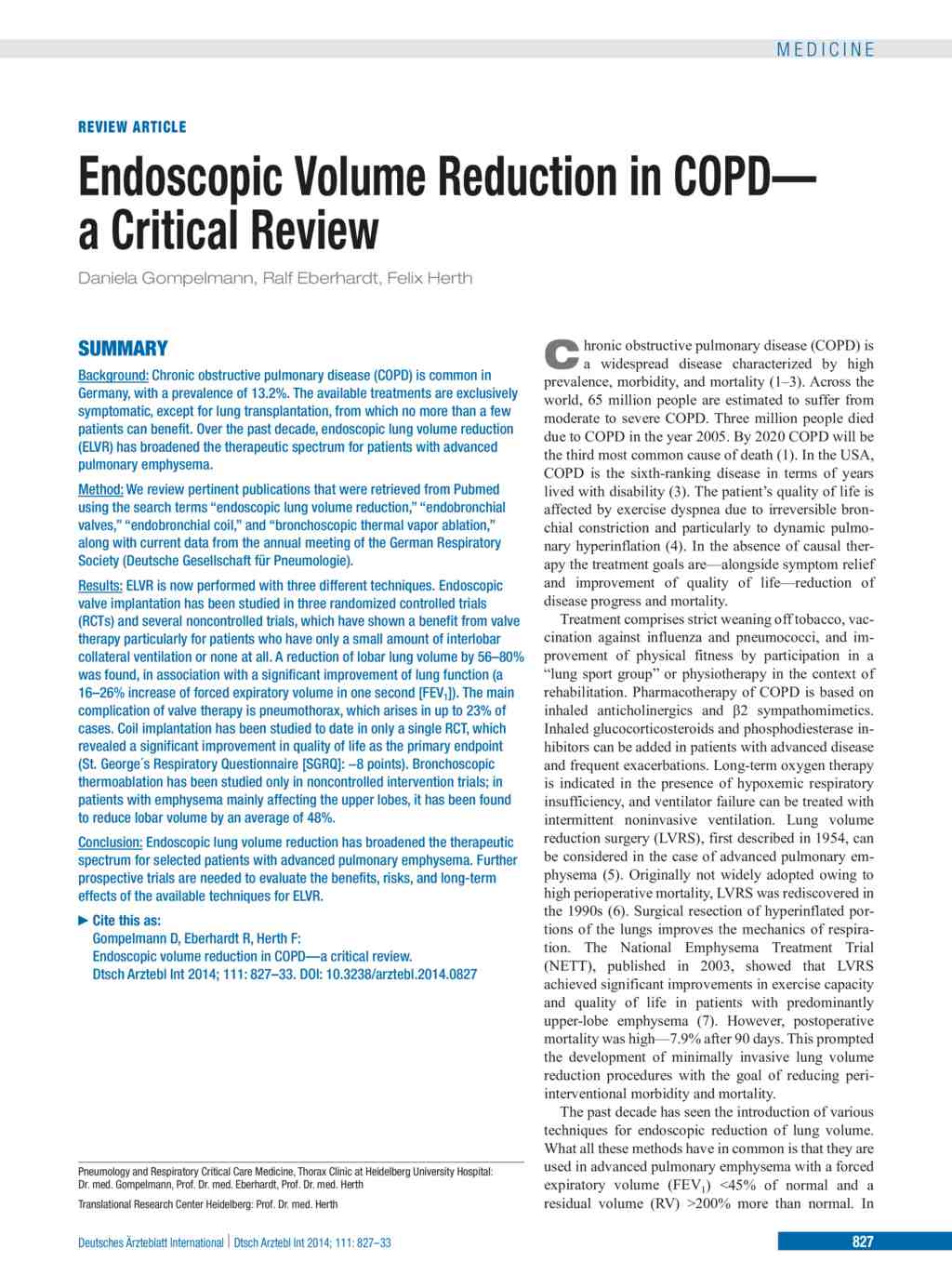 Endoscopic Volume Reduction in COPD (05 12 2014)