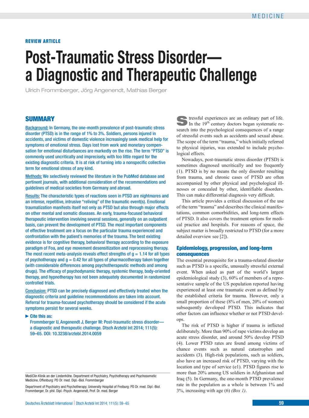 Post-Traumatic Stress Disorder (31 01 2014)