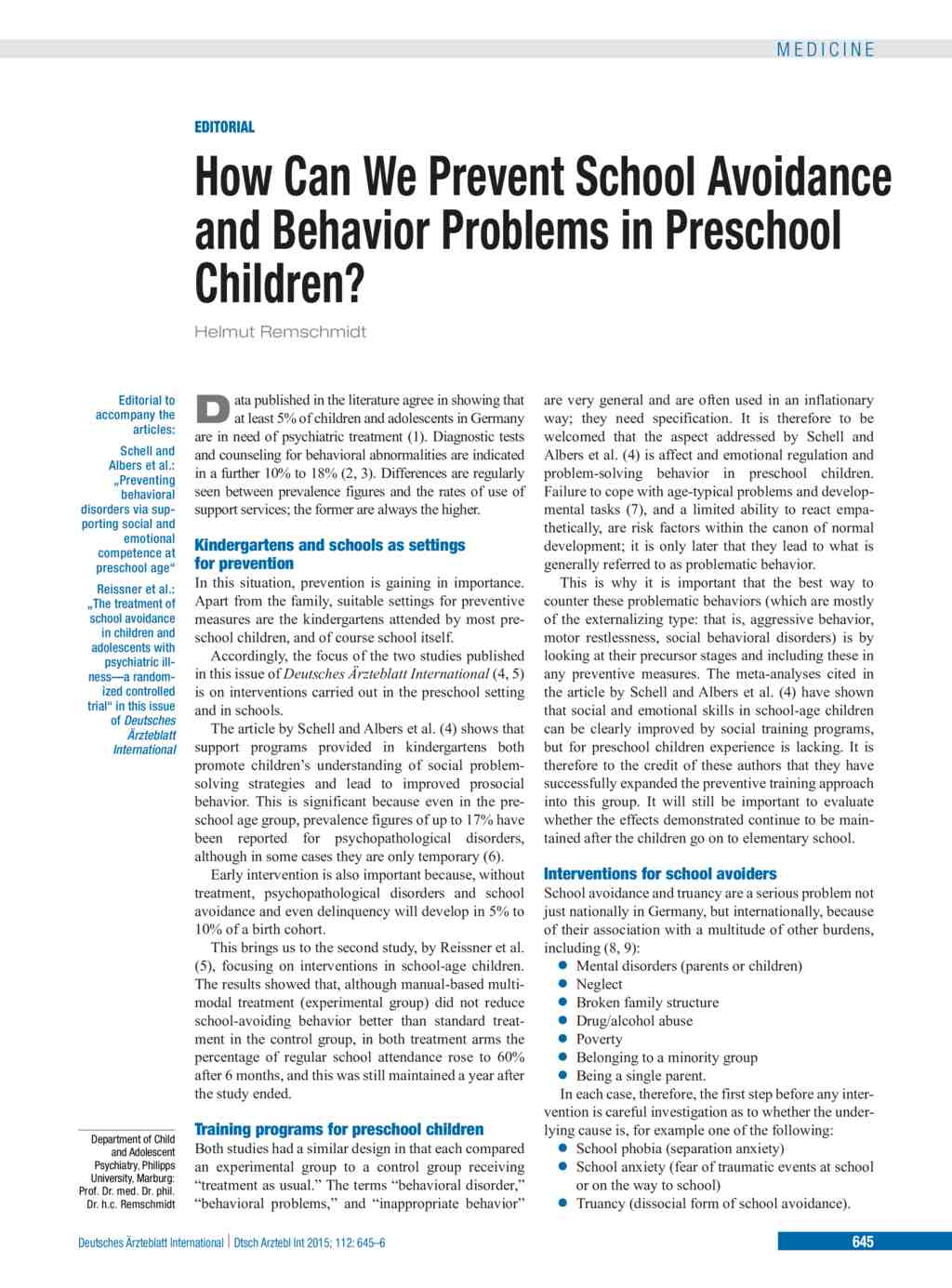 How Can We Prevent School Avoidance and Behavior Problems in