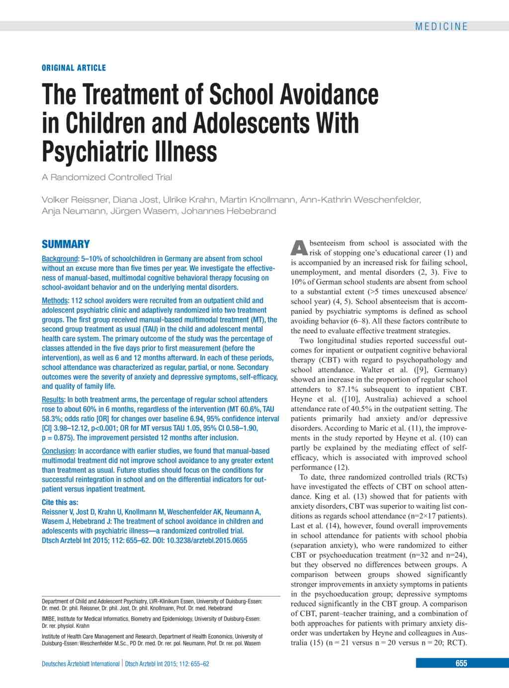 The Treatment of School Avoidance in Children and