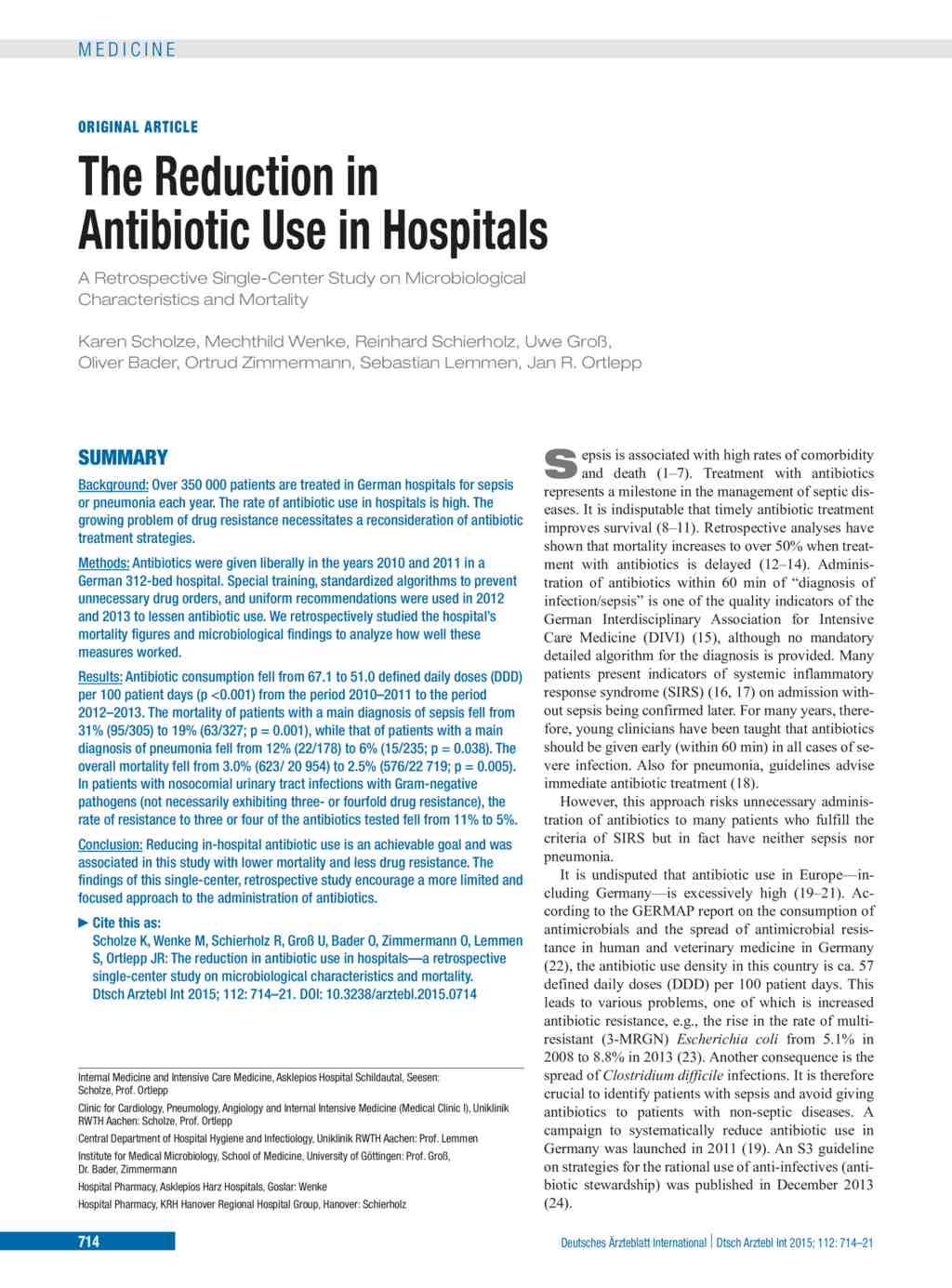 The Reduction in Antibiotic Use in Hospitals (16 10 2015)