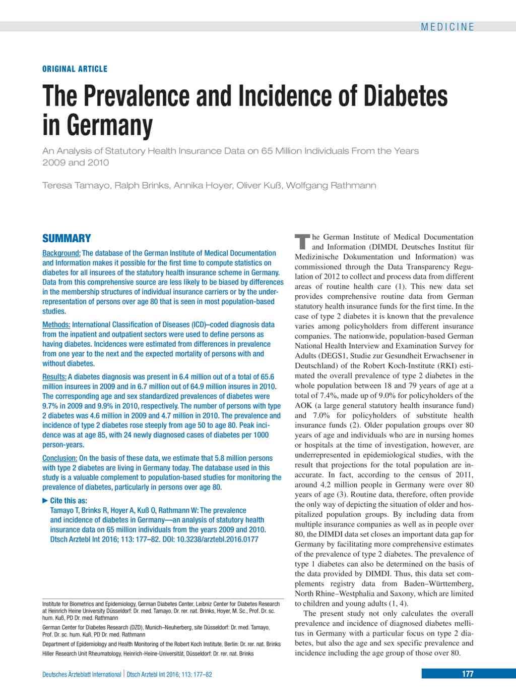diabetes forschung deutschland