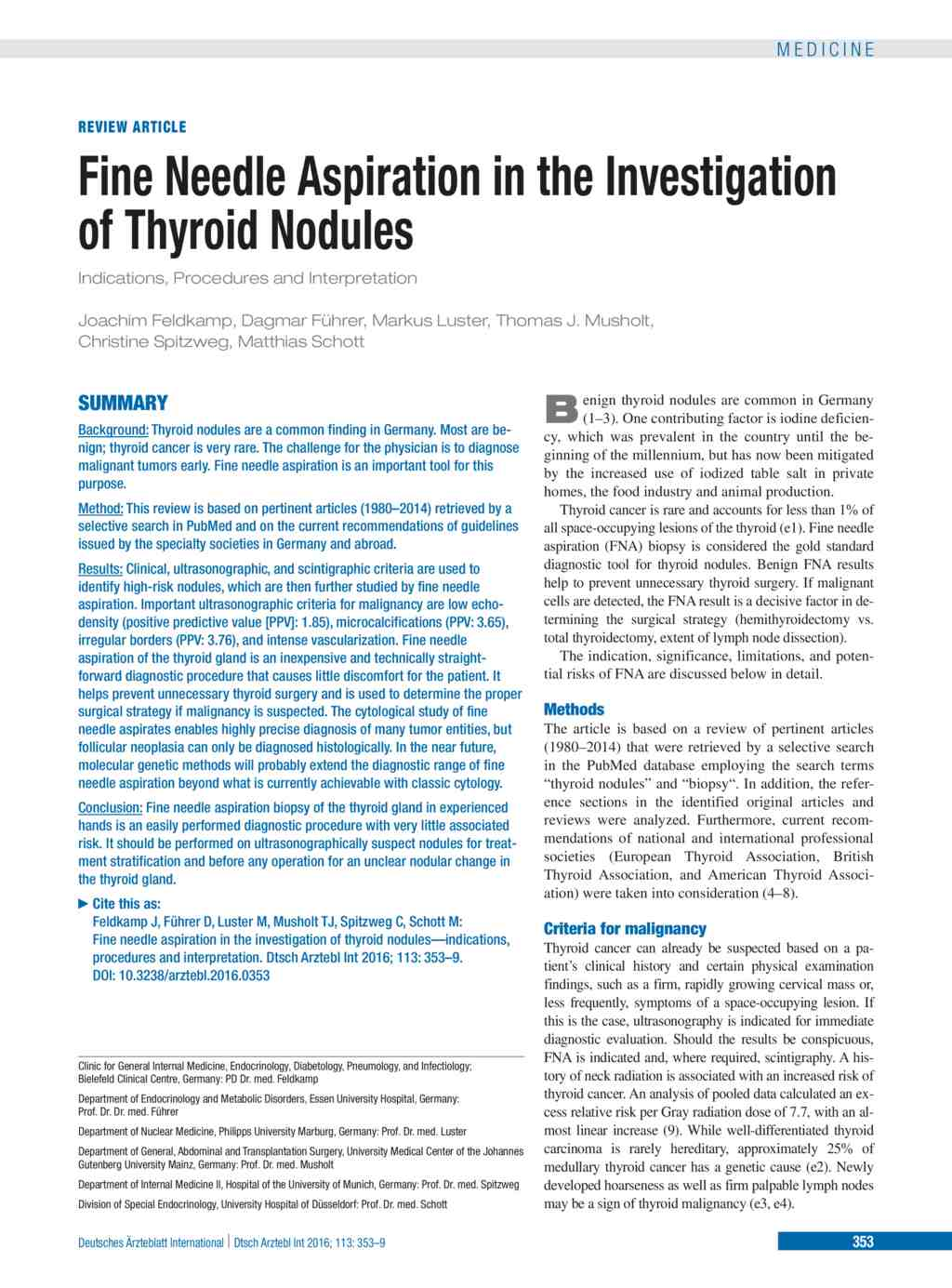 Fine Needle Aspiration In The Investigation Of Thyroid Nodules