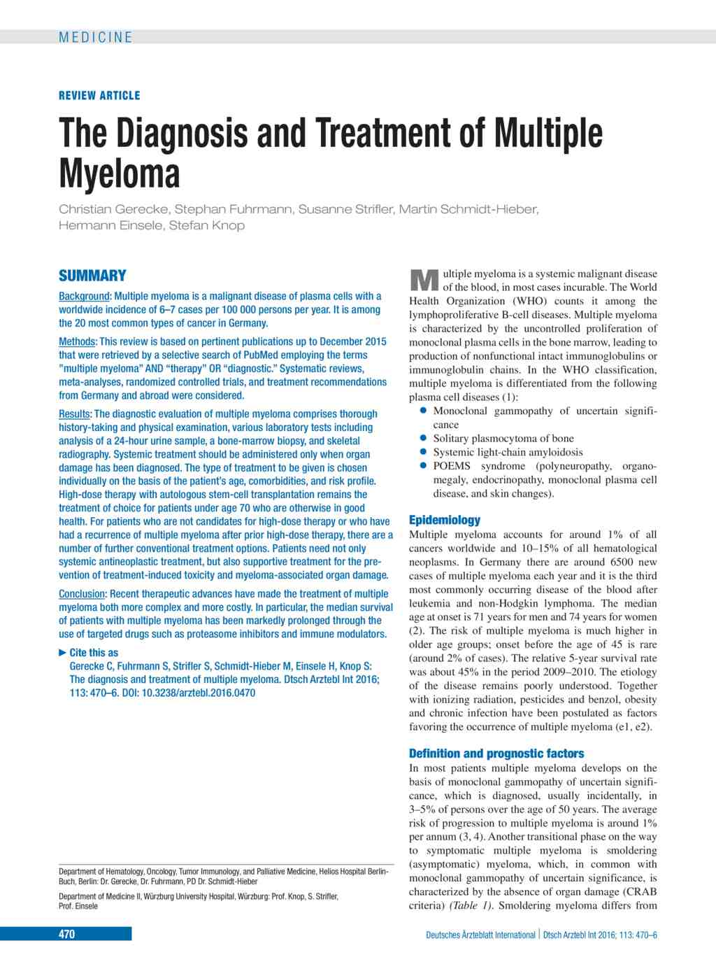 The Diagnosis and Treatment of Multiple Myeloma (11 07 2016)