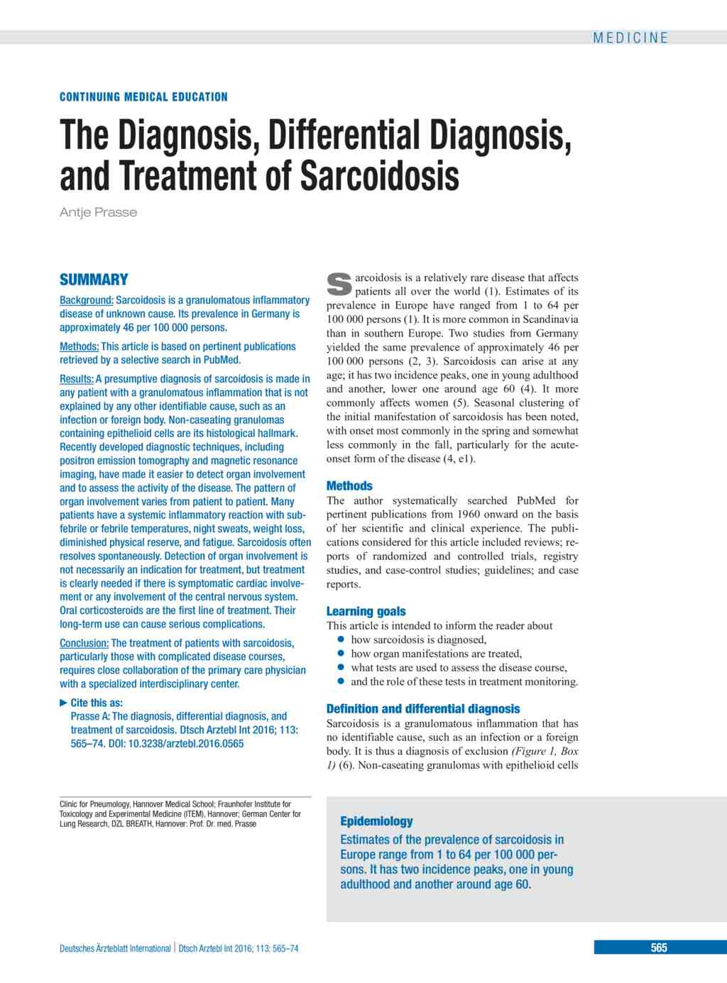 The Diagnosis, Differential Diagnosis, and Treatment of Sarcoidosis