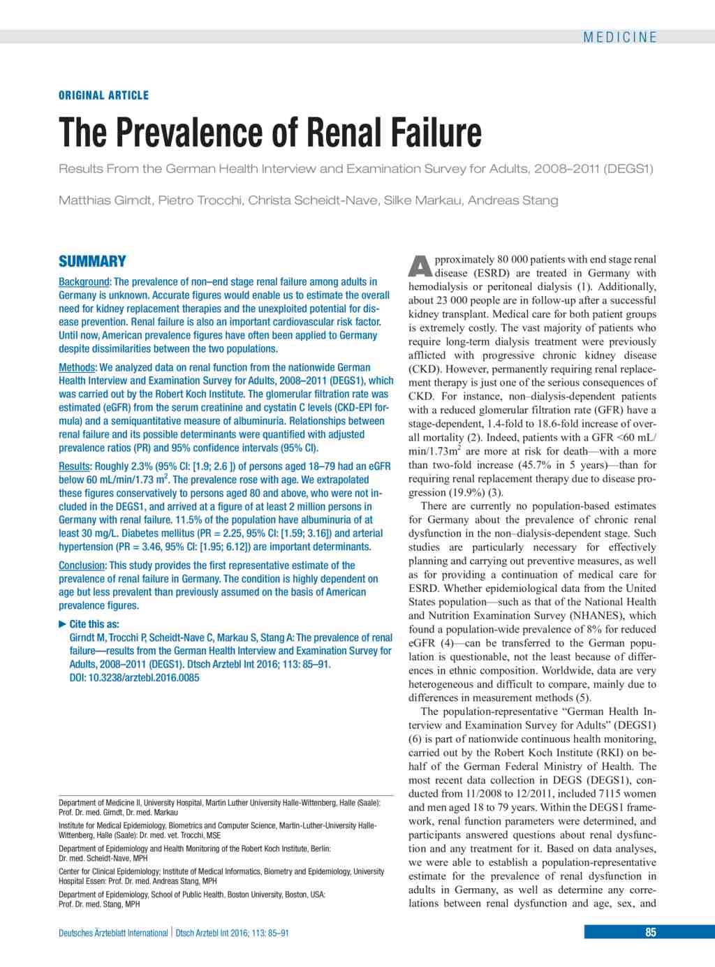 The Prevalence Of Renal Failure 12 02 2016
