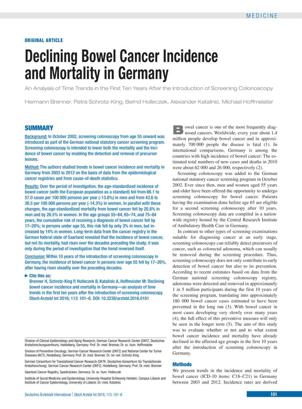 Declining Bowel Cancer Incidence And Mortality In Germany An Analysis Of Time Trends In The First Ten Years After The Introduction Of Screening Colonoscopy 19 02 2016