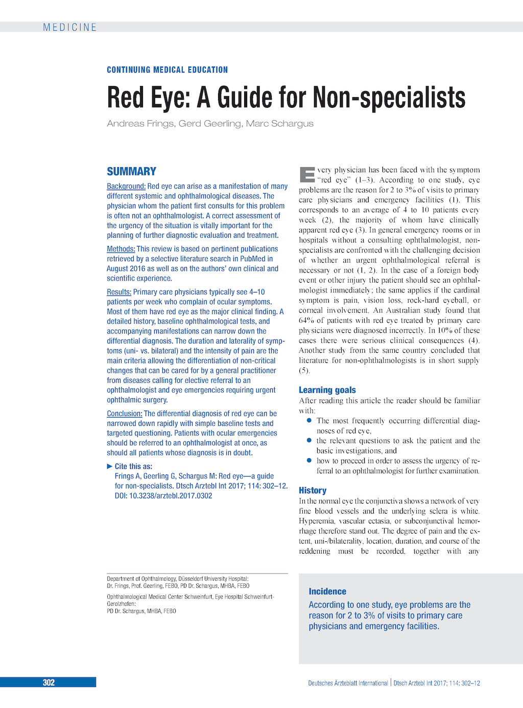Red Eye: A Guide for Non-specialists (references)
