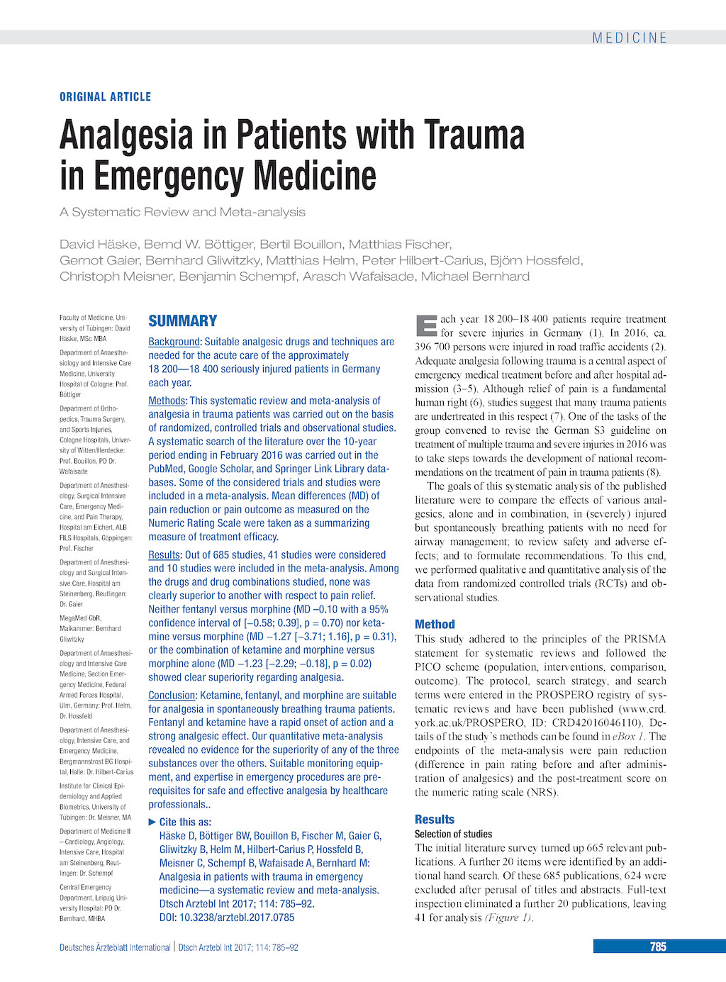 Analgesia in Patients with Trauma in Emergency Medicine (17 11 2017)