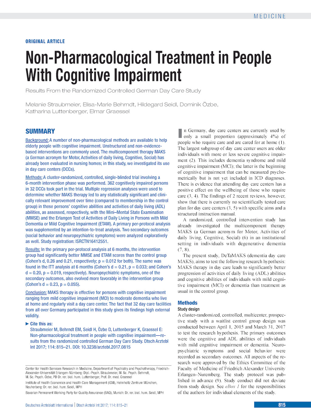 Non-Pharmacological Treatment in People With Cognitive