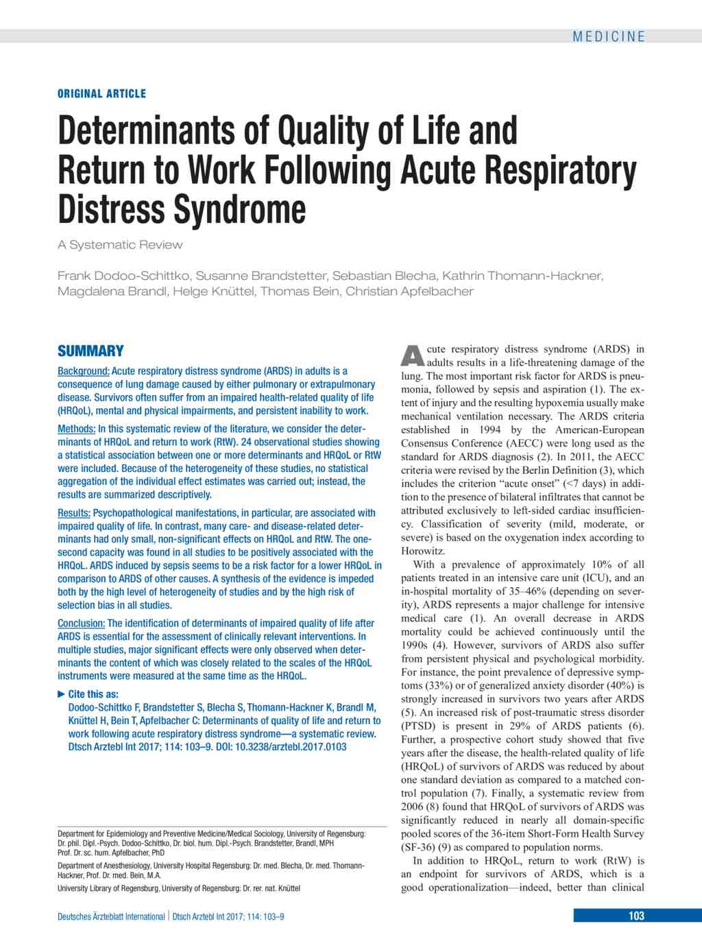 Determinants of Quality of Life and Return to Work Following