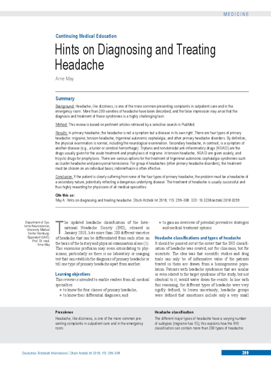 Hints on Diagnosing and Treating Headache (27 04 2018)