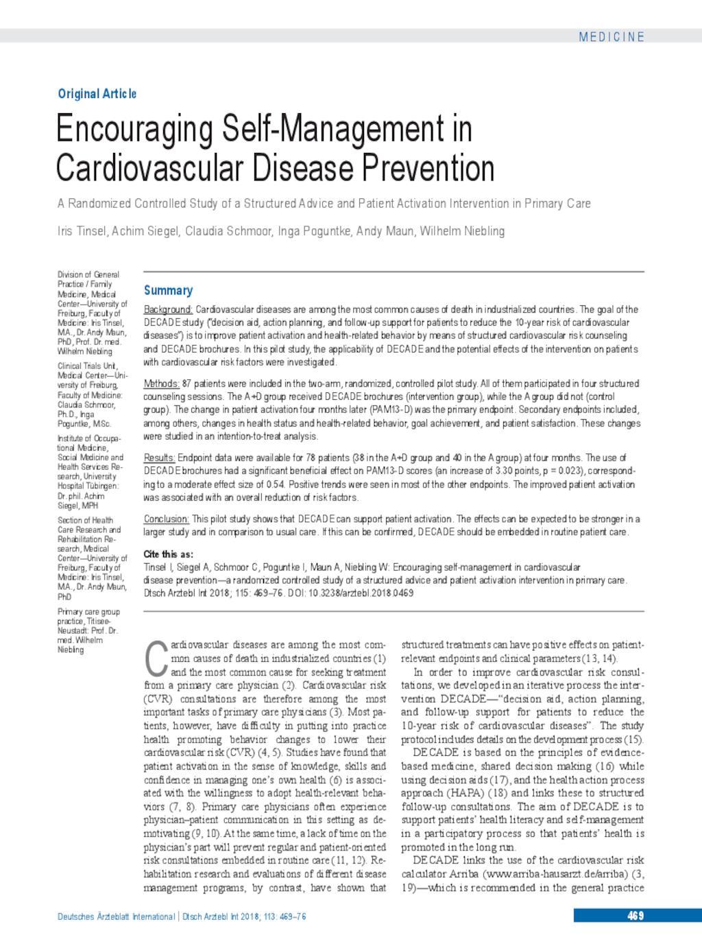 Encouraging Self-Management in Cardiovascular Disease