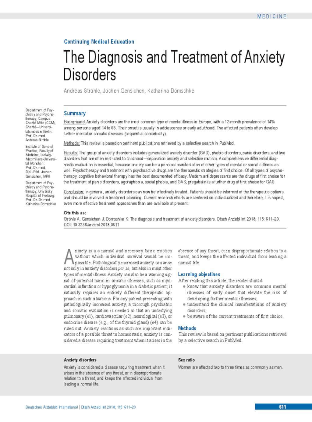 The Diagnosis and Treatment of Anxiety Disorders (14 09 2018)