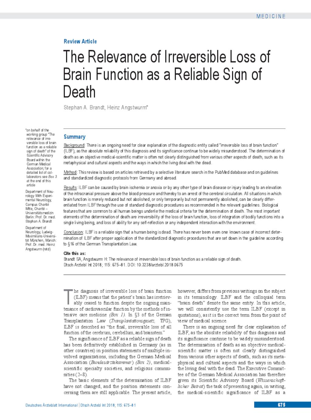 The Relevance of Irreversible Loss of Brain Function as a