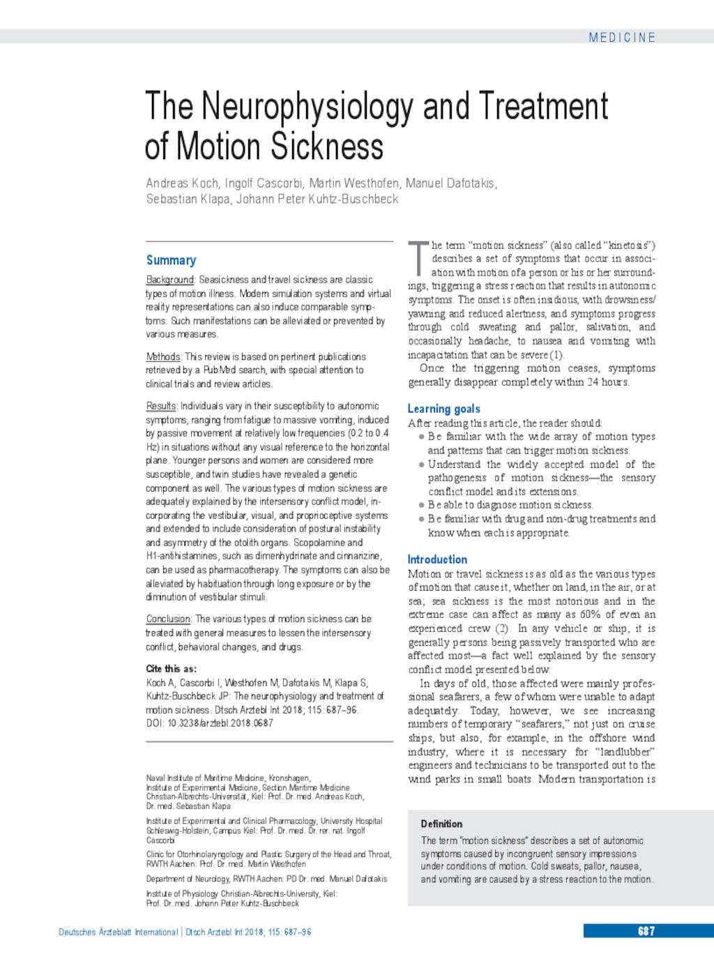 The Neurophysiology and Treatment of Motion Sickness (12 10