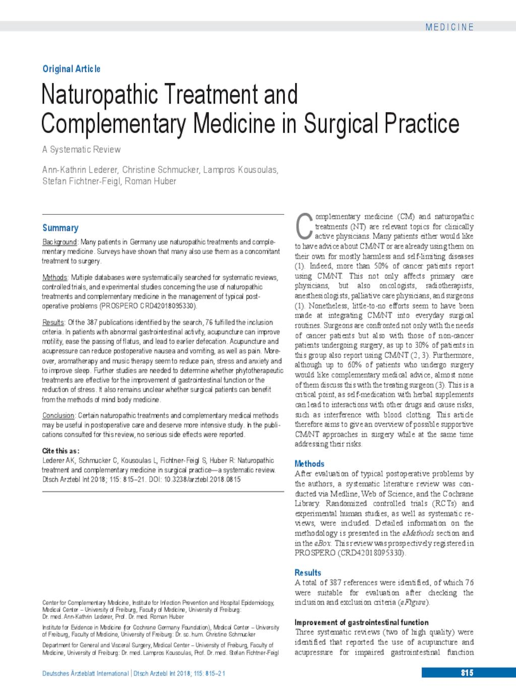 Naturopathic Treatment and Complementary Medicine in