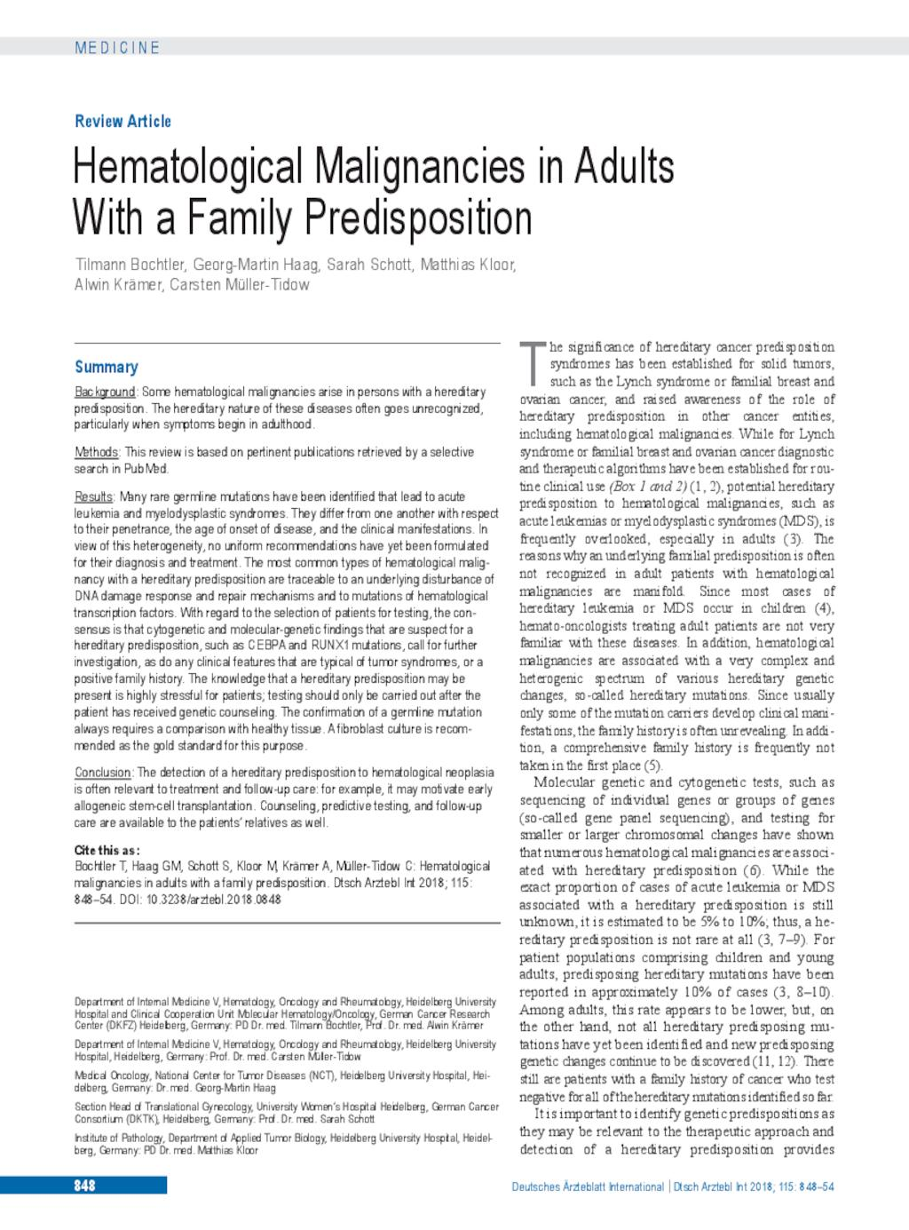 Hematological Malignancies in Adults With a Family