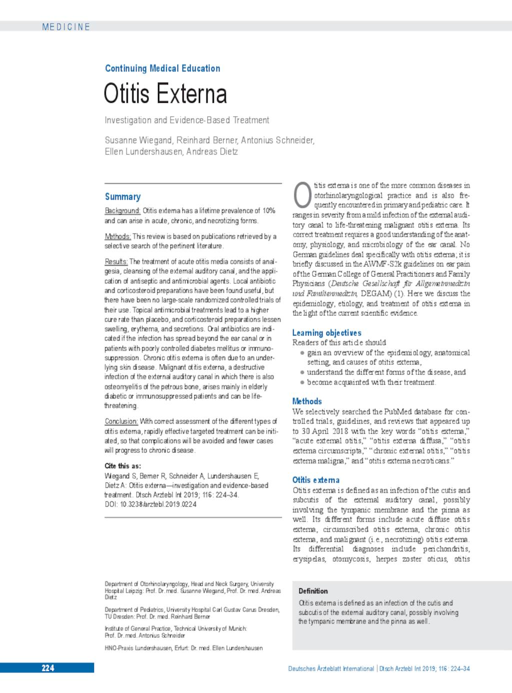 Otitis Externa Investigation And Evidence Based Treatment
