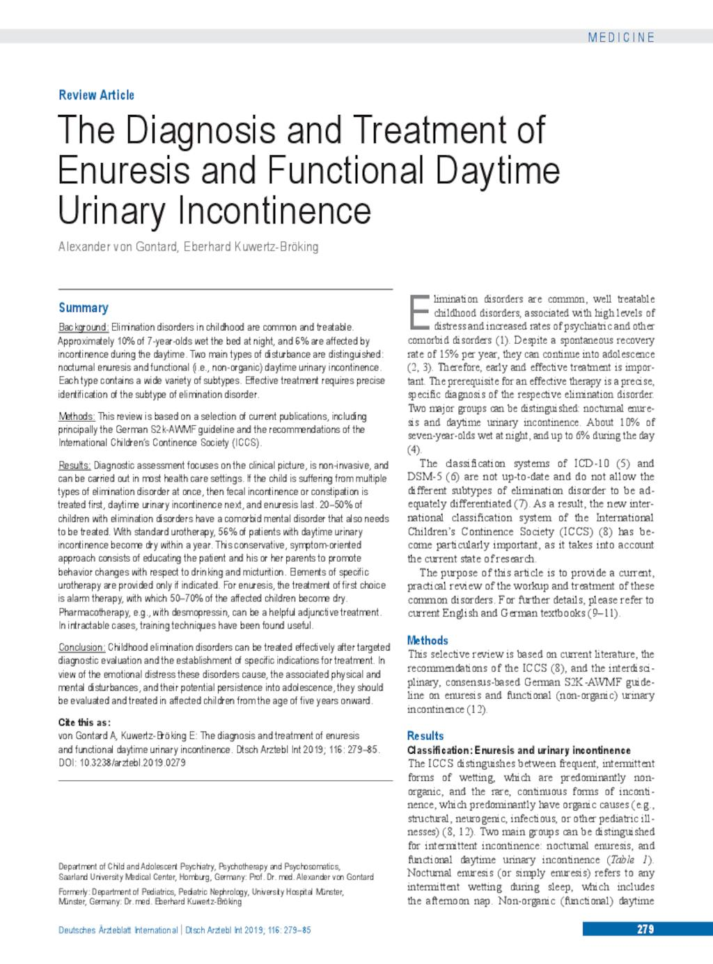 The Diagnosis and Treatment of Enuresis and Functional