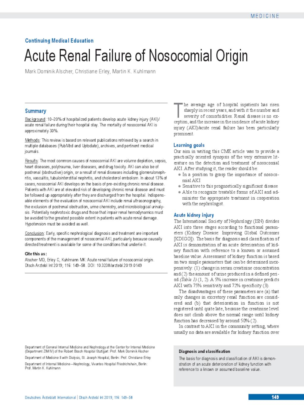 Acute Renal Failure of Nosocomial Origin (01 03 2019)