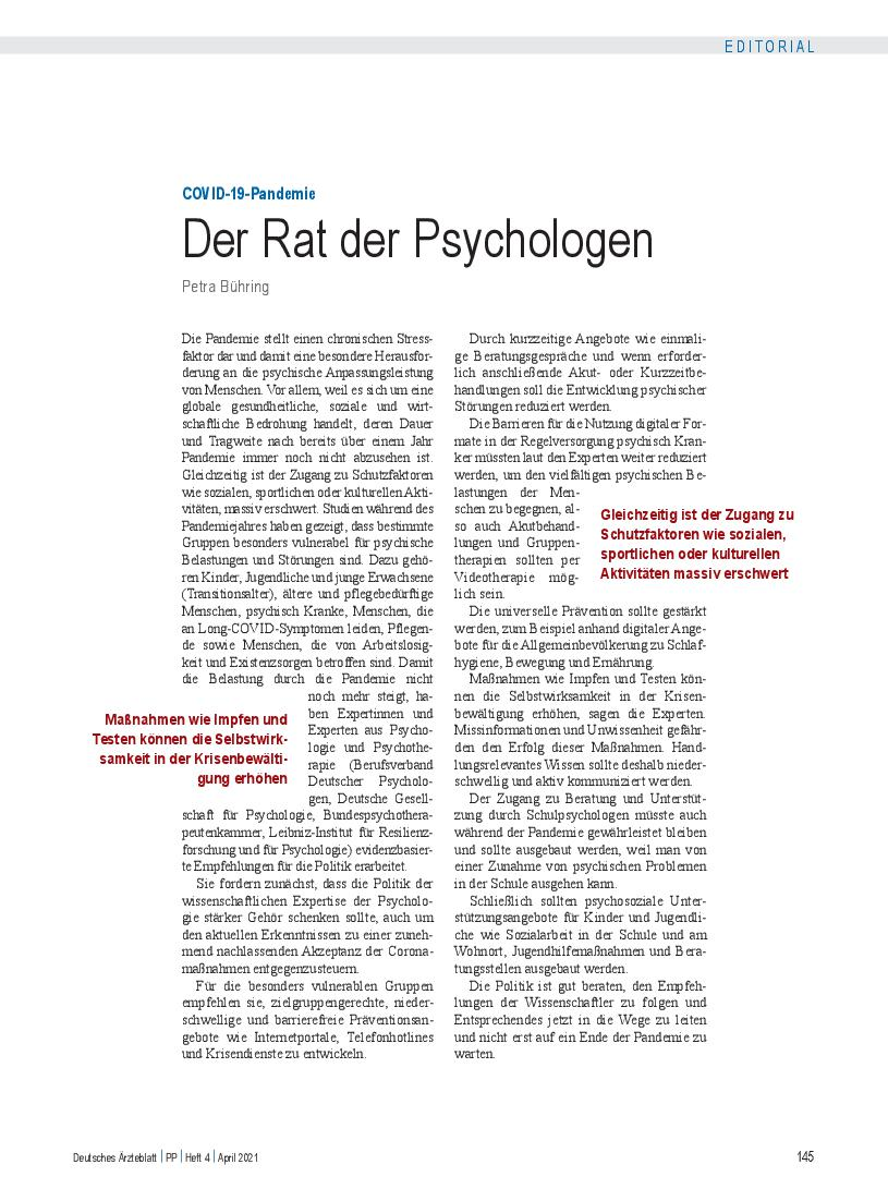 COVID-19-Pandemie: Der Rat der Psychologen