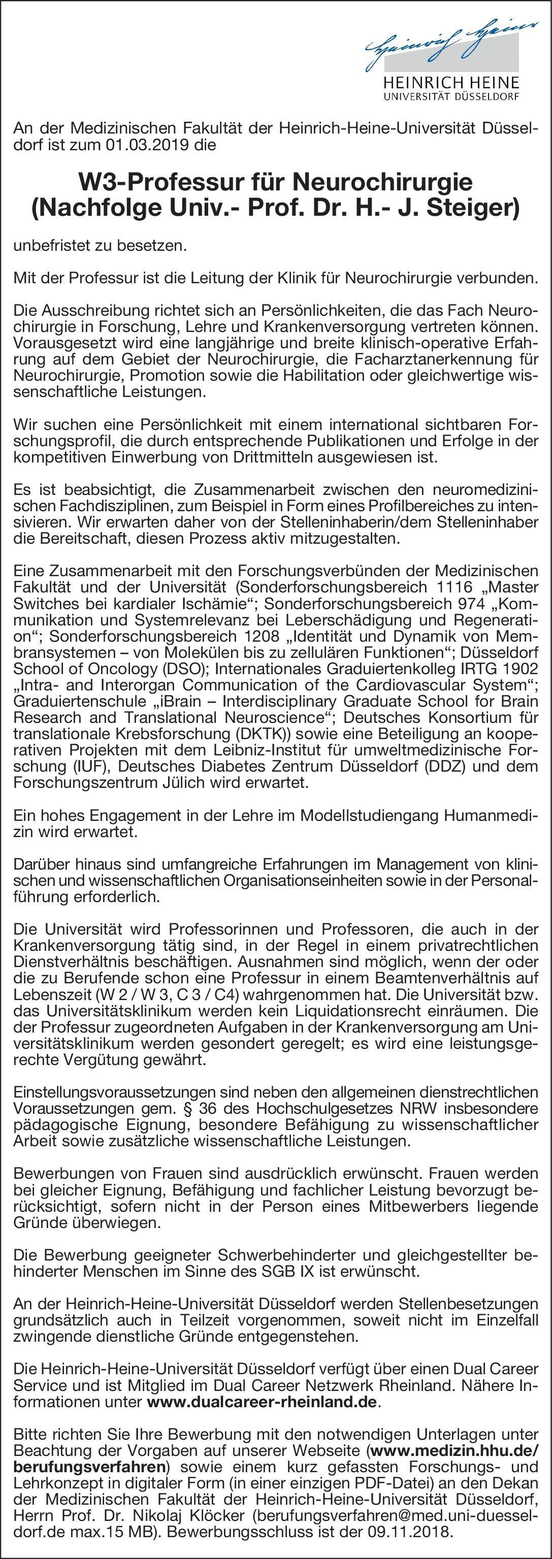 heinrich heine universitt dsseldorf w3 professur fr neurochirurgie neurochirurgie professor - Dusseldorf Uni Bewerbung