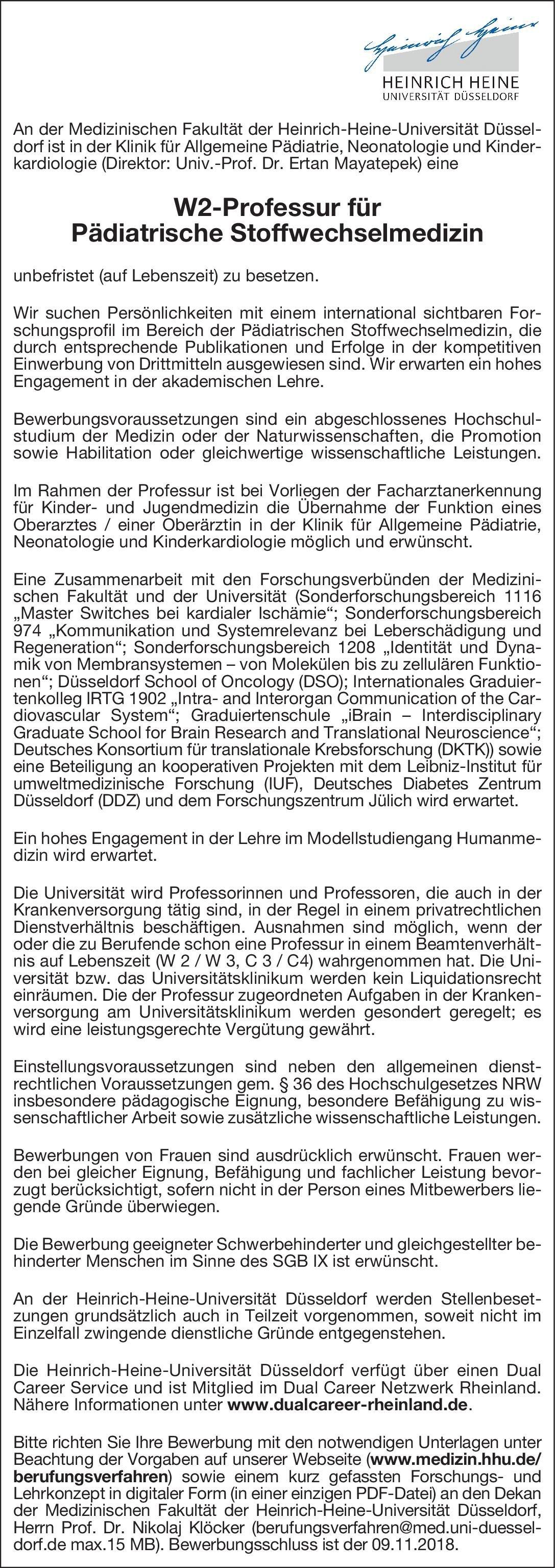 heinrich heine universitt dsseldorf w2 professur fr pdiatrische stoffwechselmedizin kinder und jugendmedizin - Dusseldorf Uni Bewerbung
