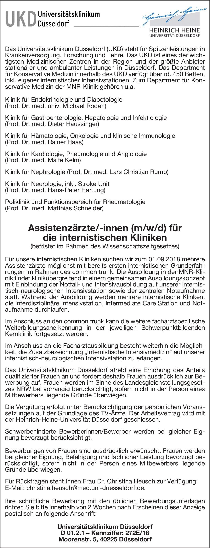 universittsklinikum dsseldorf ukd assistenzrzte innen mwd lns jetzt bewerben - Dsseldorf Uni Bewerbung