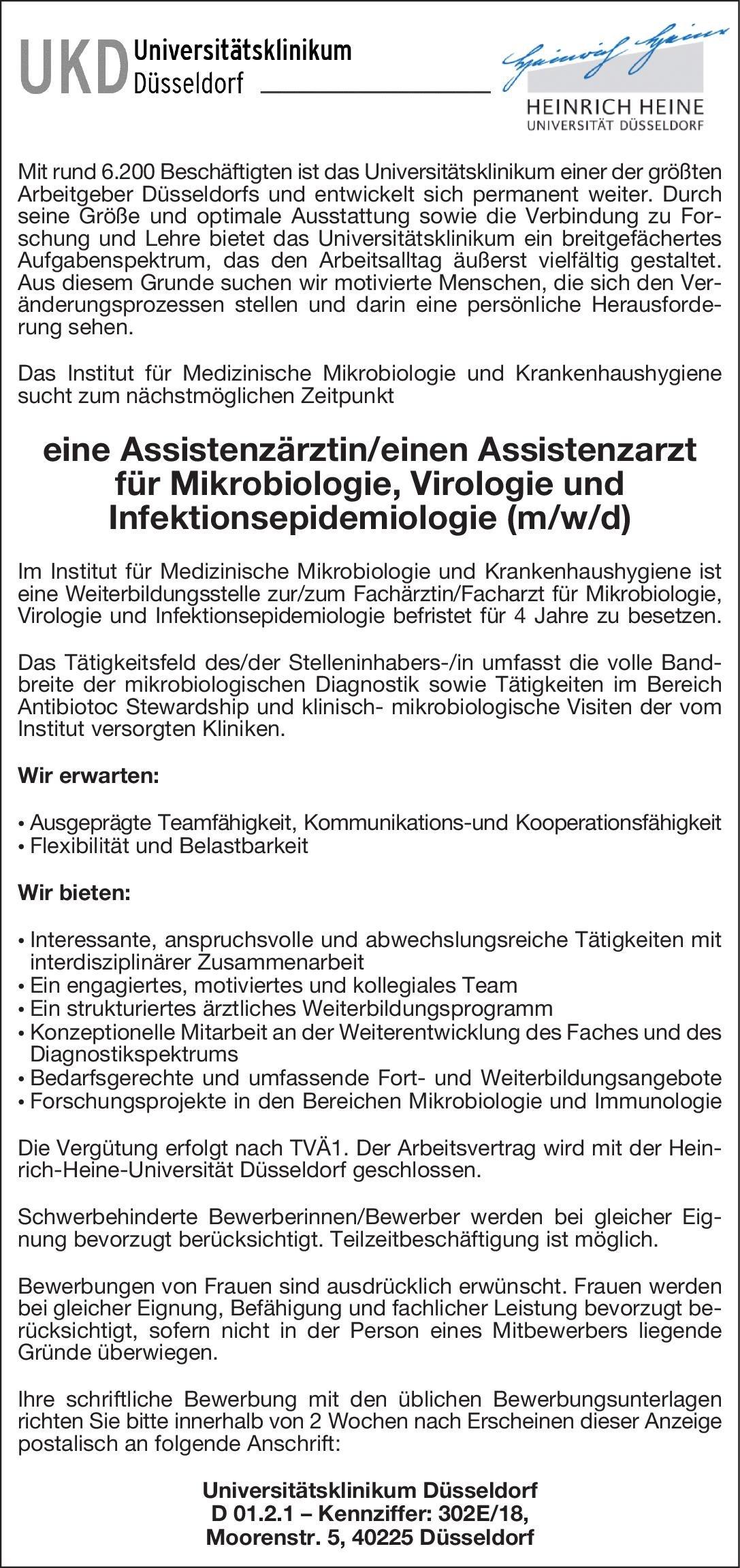 universittsklinikum dsseldorf assistenzrztinassistenzarzt fr mikrobiologie virologie und infektionsepidemiologie mw - Dusseldorf Uni Bewerbung