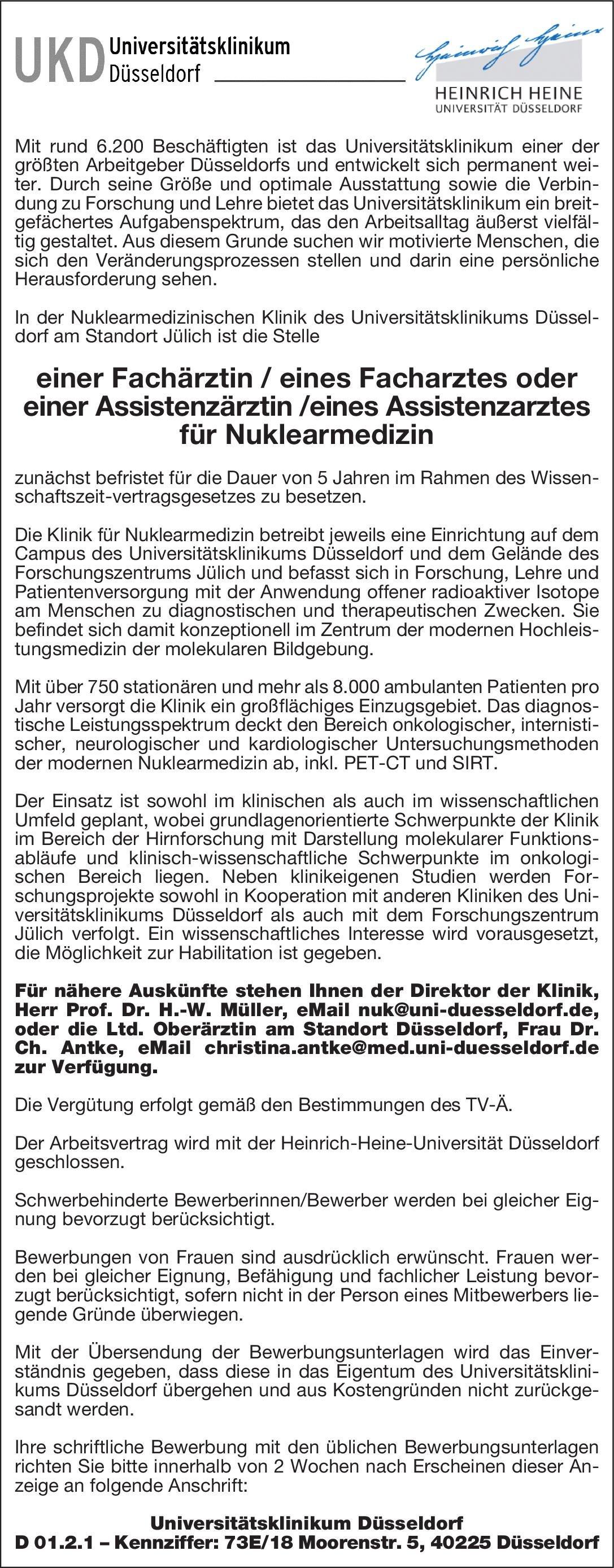 universittsklinikum dsseldorf fachrztinfacharzt oder assistenzrztinassistenzarzt fr nuklearmedizin nuklearmedizin arztfacharzt - Dusseldorf Uni Bewerbung