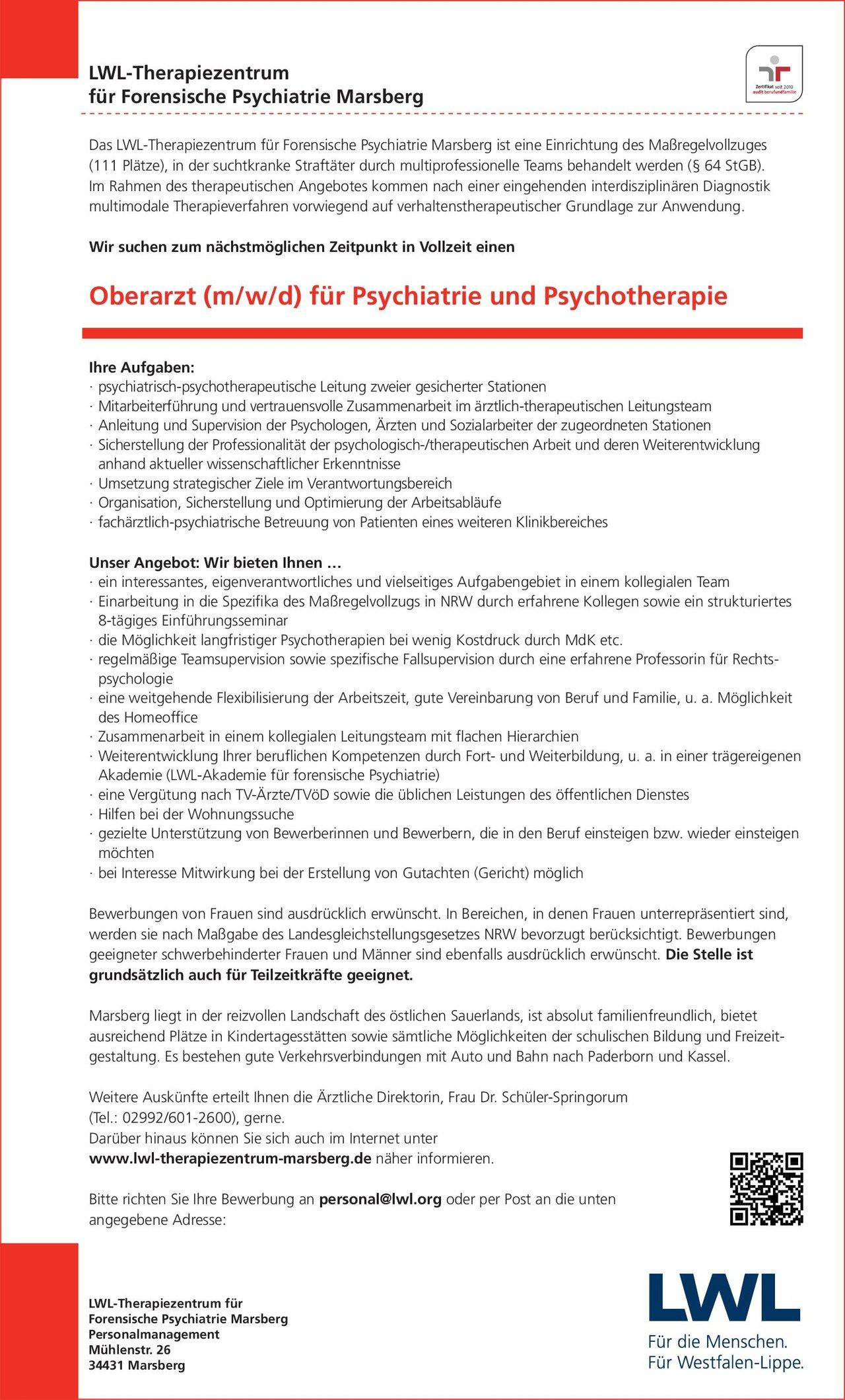 lwl therapiezentrum fr forensische psychiatrie marsberg oberarzt mwd fr - Bewerbung Als Sozialarbeiter