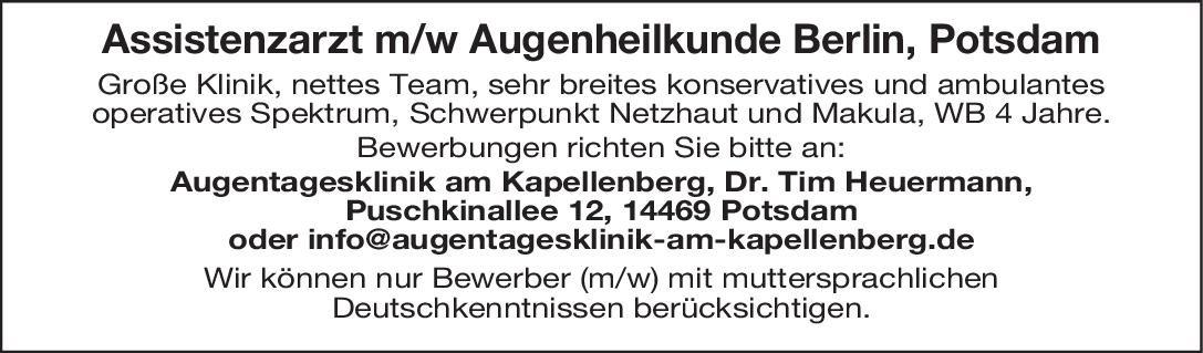 Stellenangebot Assistenzarzt Mw Augenheilkunde Potsdam