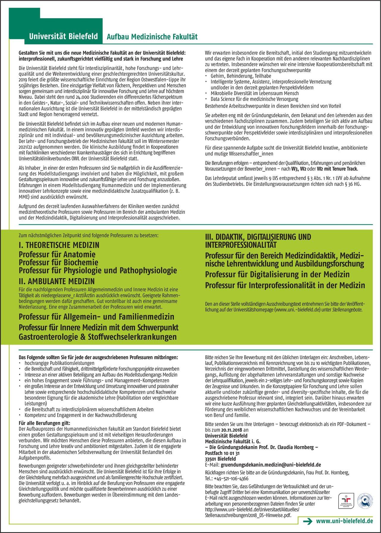 Stellenangebot: Professuren für Anatomie, Biochemie, Physiol