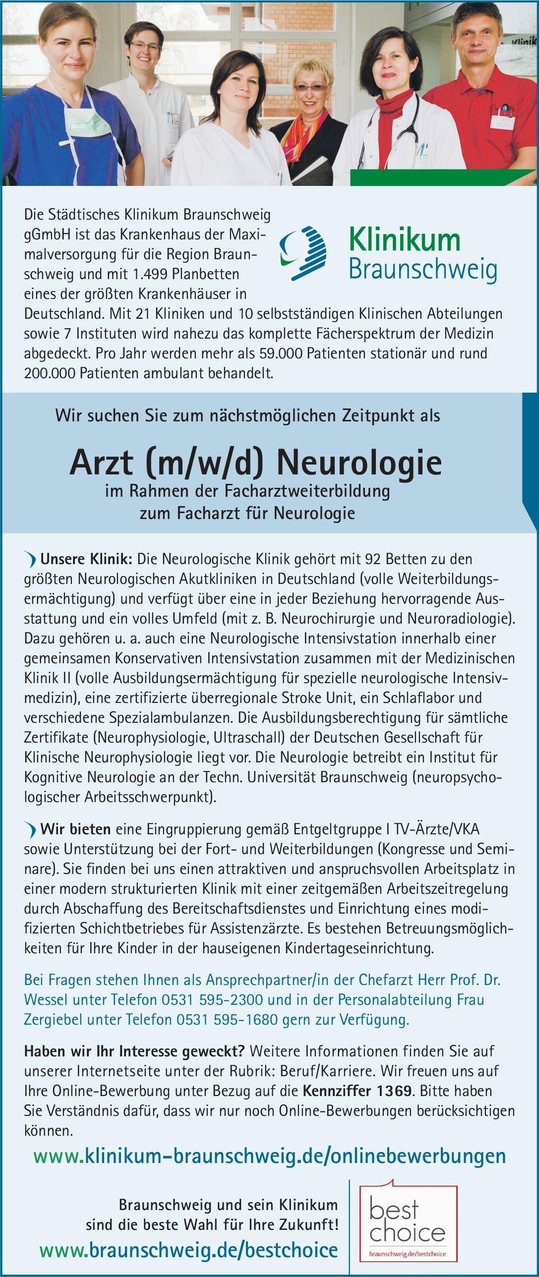 Stellenangebot: Arzt (m/w/d) Neurologie im Rahmen der Fachar