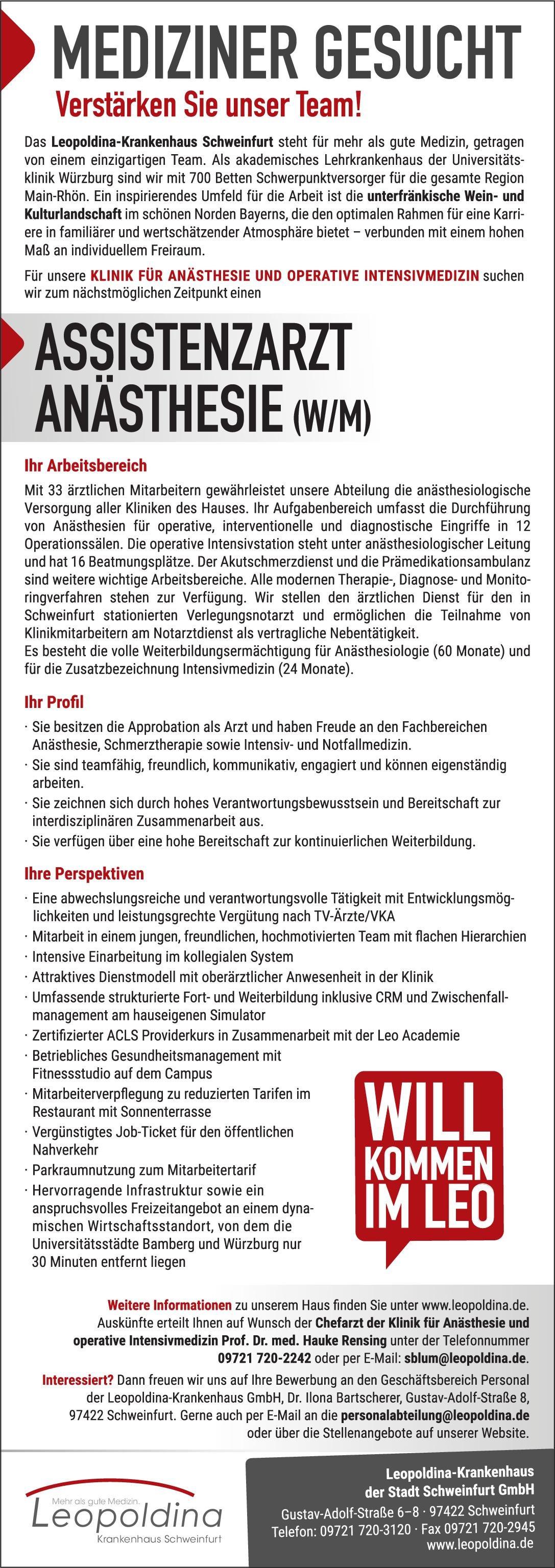 Stellenangebot Assistenzarzt Anästhesie Wm Schweinfurt
