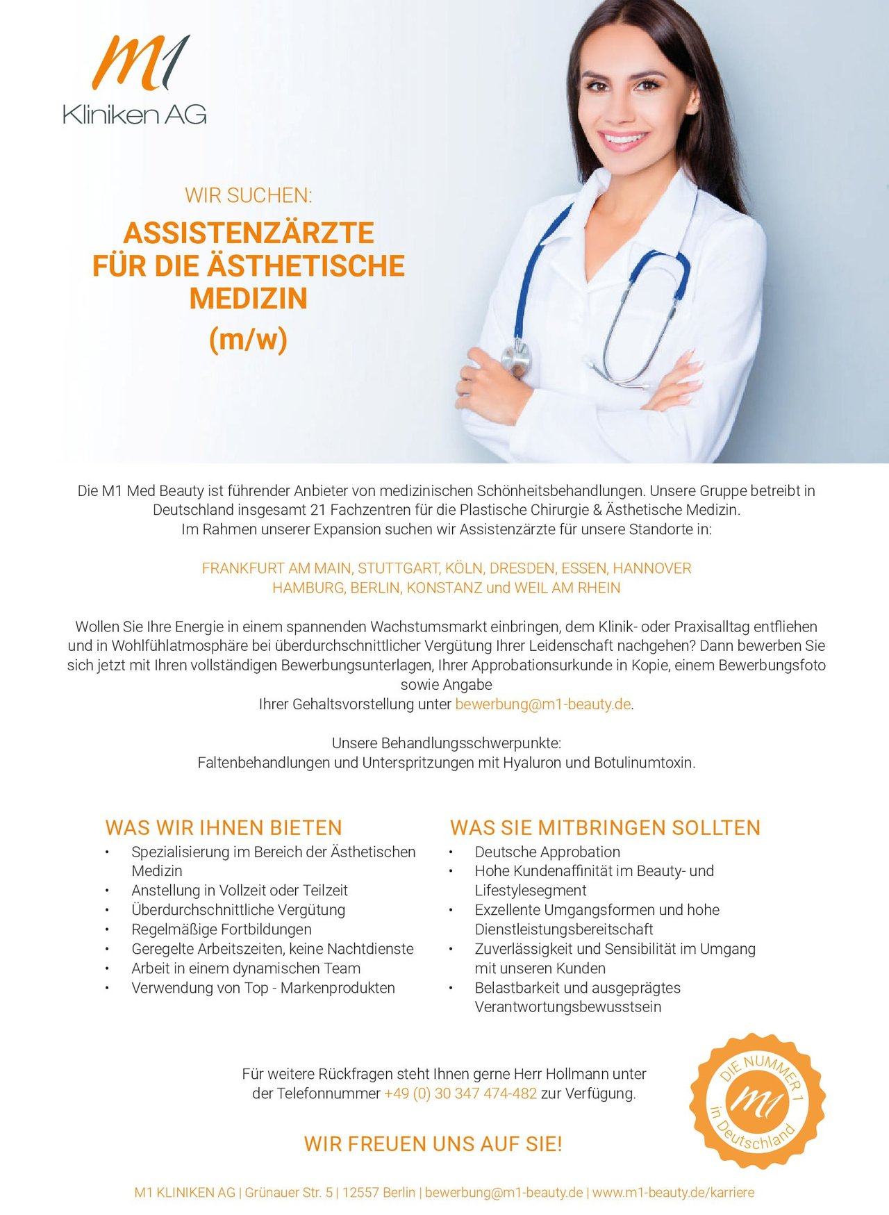 Stellenangebot Assistenzärzte Für Die ästhetische Medizin