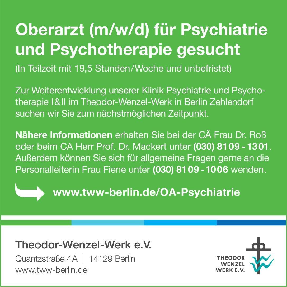 Stellenangebot Oberarzt Mwd Für Psychiatrie Und Psychot