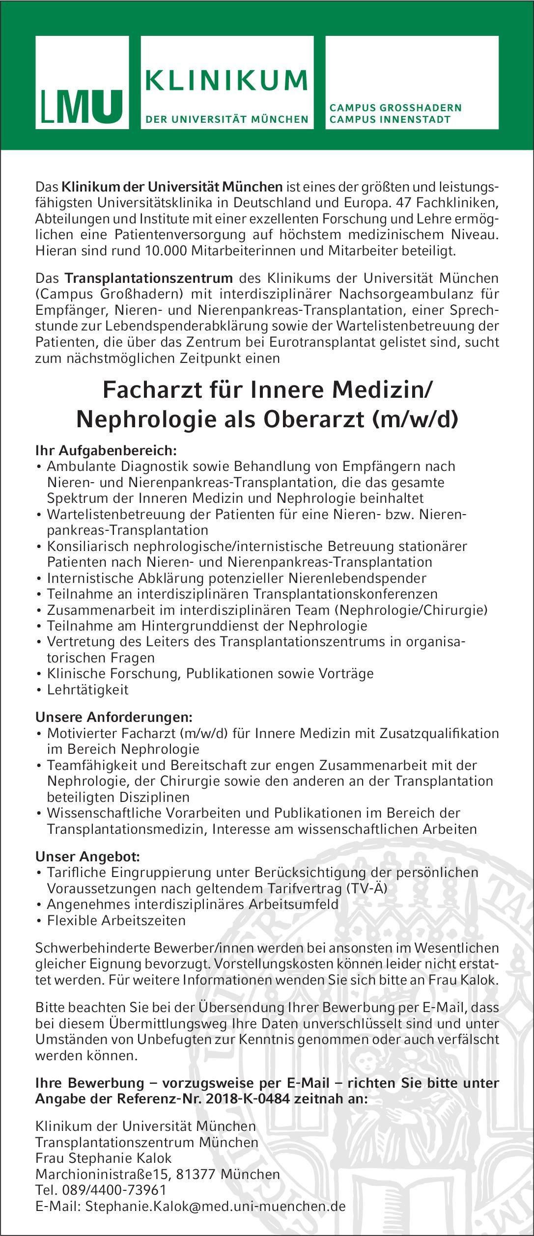 Stellenangebot Facharzt Für Innere Medizinnephrologie Als