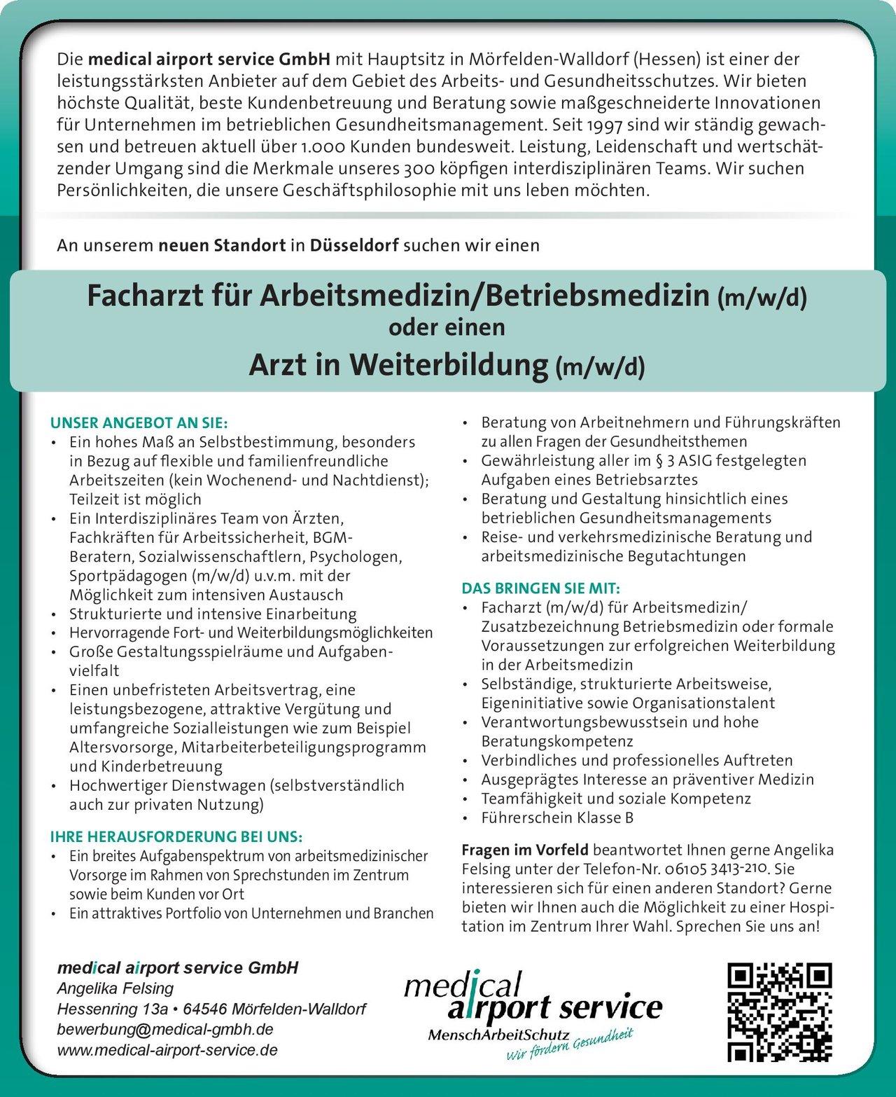 Stellenangebot Facharzt Für Arbeitsmedizinbetriebsmedizin
