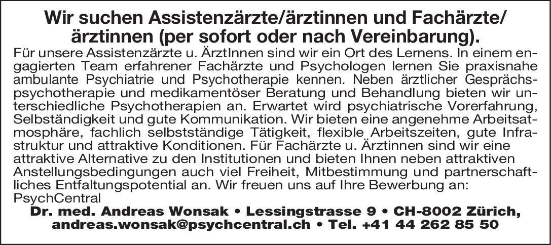 Stellenangebot Assistenzärzteärztinnen Zürich
