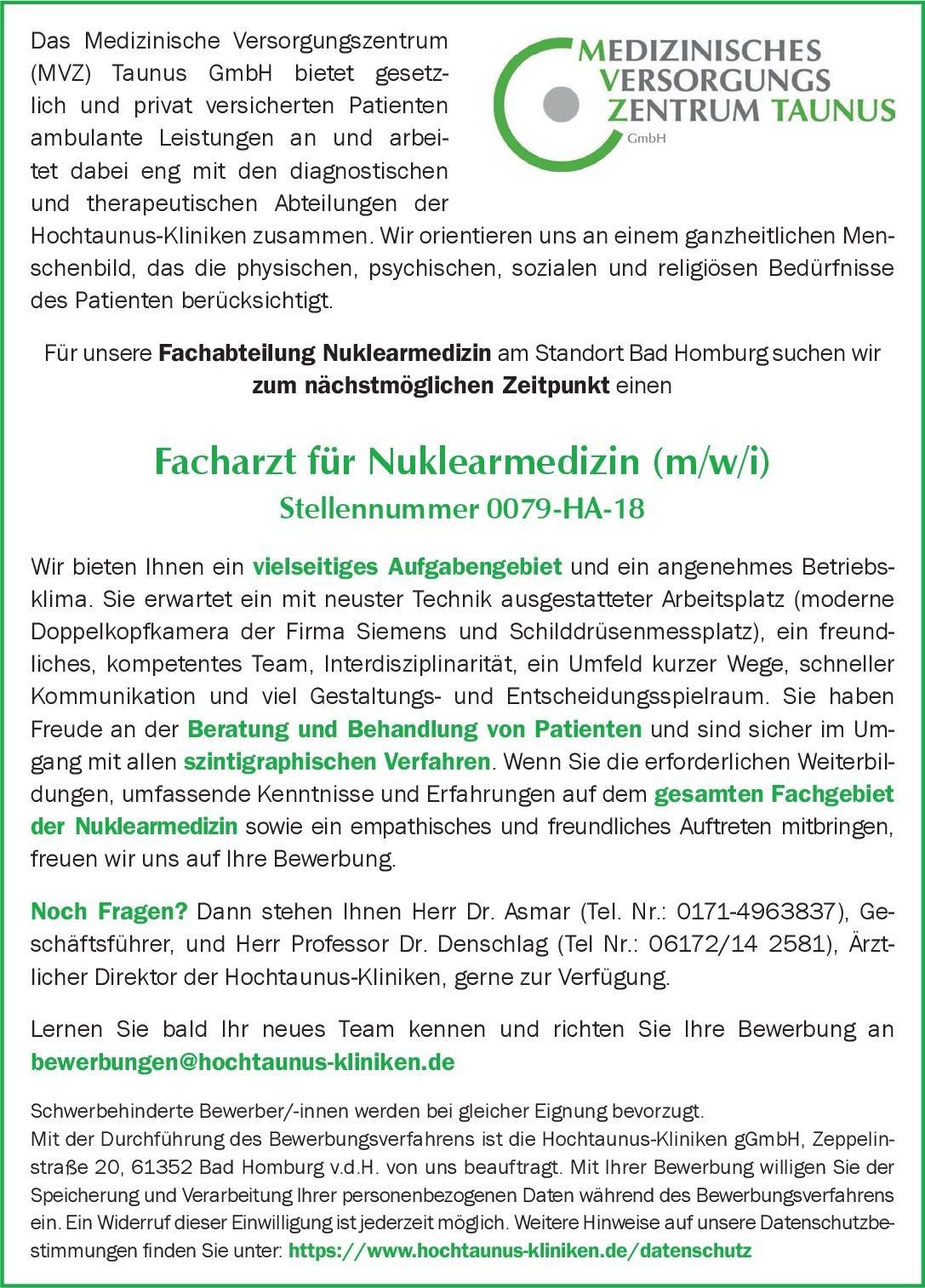 Stellenangebot Facharzt Für Nuklearmedizin Mwi Bad Ho