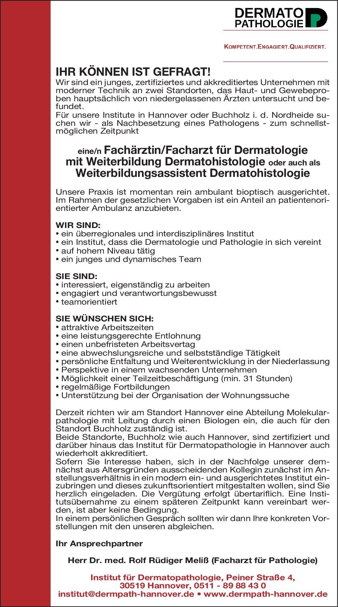 Stellenangebot Fachärztinfacharzt Für Dermatologie Mit Wei