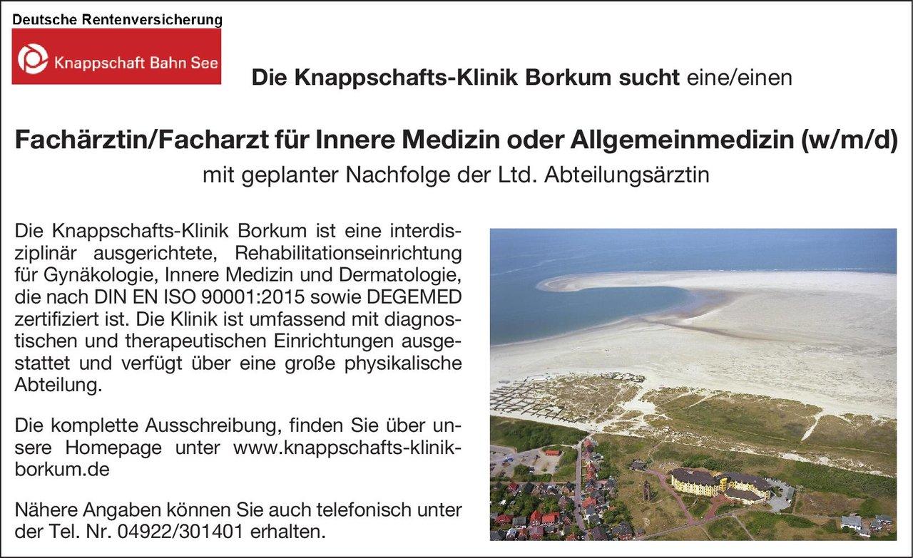 Knappschafts-Klinik Borkum Fachärztin/Facharzt für Innere Medizin  Innere Medizin, Innere Medizin Arzt/Facharzt